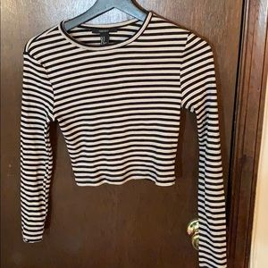Forever 21 Cropped Long Sleeved Stripped Shirt